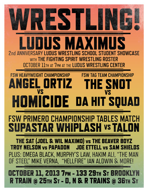 Vintage rainbow wrestling poster